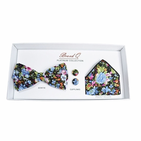 Floral Bow Tie Gift Box with Cufflinks & Pocket Square