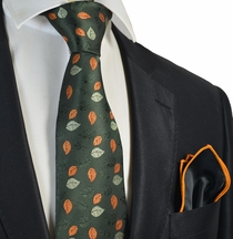 Forest Green Tie with Rolled Pocket Square Set