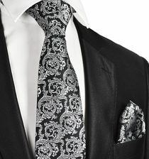 Formal Black and Silver Men's Tie and Pocket Square
