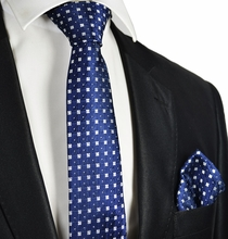 Formal Blue and White Tie and Pocket Square
