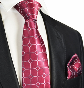 Formal Burgundy and Silver Men's Tie and Pocket Square