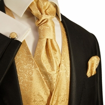 Formal Gold Tuxedo Vest Set by Paul Malone