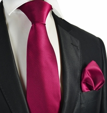 Fuchsia Red Checked Necktie and Pocket Square