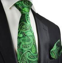 Garden Green Silk Tie Set by Paul Malone