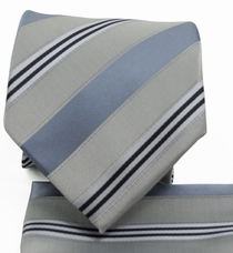 Gray Striped Necktie a. Pocket Square Set (Q506-i)