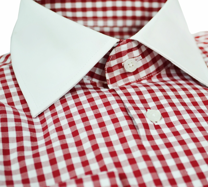 Gingham shirt with contrast collar french cuffs for Gingham french cuff shirt