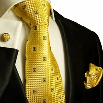 Gold and Black Paul Malone Silk Tie Set (461CH)
