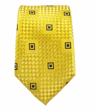 Gold and Black Slim Silk Tie by Paul Malone