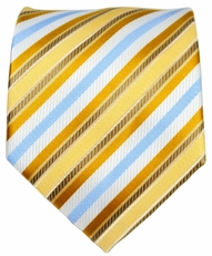 Gold and Blue Striped Men's Tie