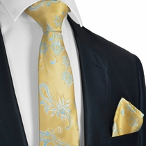 Gold and Blue Tie and Pocket Square Set