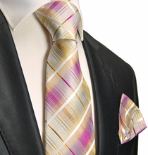 Gold and Pink Silk Tie and Pocket Square . Paul Malone