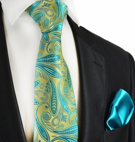 Gold and Turquoise 7-fold Silk Tie Set by Paul Malone