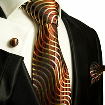 Gold Brown Paul Malone Silk Tie Set (751CH)