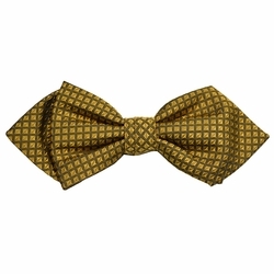 Gold Checked Silk Bow Tie by Paul Malone Red Line