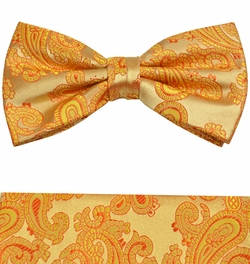 Gold Paisley Bow Tie and Pocket Square by Paul Malone (BT910H)
