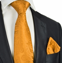 Gold Paisley Necktie and Pocket Square Set