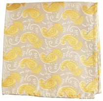 Gold Paisley Pocket Square . 100% Silk (H886)
