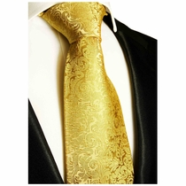 Gold Paisley Silk Necktie by Paul Malone