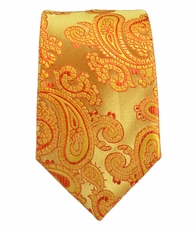 Gold Paisley Slim Tie by Paul Malone . 100% Silk
