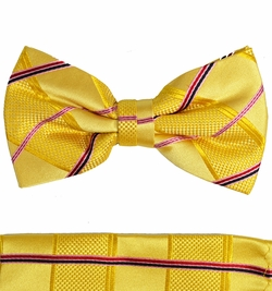 Gold Plaid Bow Tie and Pocket Square Set by Paul Malone (BT538H)