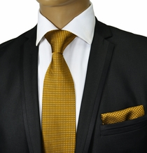Gold Silk Tie and Pocket Square by Paul Malone
