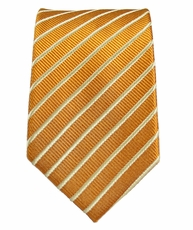 Gold Slim Silk Tie by Paul Malone