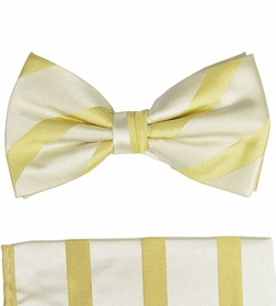Gold Silk Bow Tie and Pocket Square Set by Paul Malone