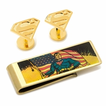 Gold Superman Cufflinks and Money Clip Gift Set