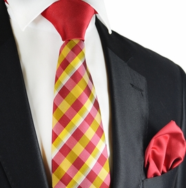 Golden Glow and Red Contrast Knot Tie Set by Paul Malone