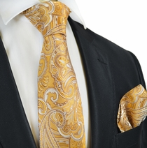 Golden Glow Paisley Silk Tie Set by Paul Malone