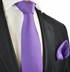 Grape Jam Tie and Pocket Square by Paul Malone