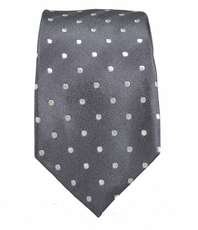 Gray and White Slim Silk Tie by Paul Malone