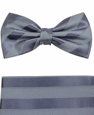 Gray Bow Tie and Pocket Square by Paul Malone (BT811H)