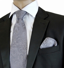Gray Paisley Necktie and Pocket Square Set by Steven Land (SL100-Gray)