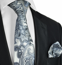 Silver Paisley Necktie and Pocket Square Set