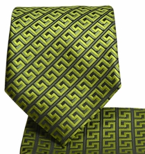 Green and Black Men's Tie and Pocket Square