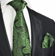 Green and Black Necktie and Pocket Square Set (Q600-W)
