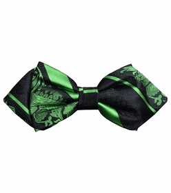 Green and Black Silk Bow Tie by Paul Malone Red Line