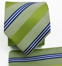 Green and Blue Striped Necktie Set (Q506-M)