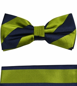 Green and Navy Bow Tie and Pocket Square Set by Paul Malone . 100% Silk (BT870H)