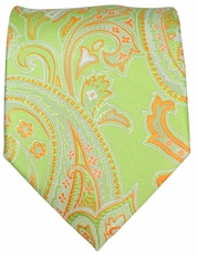 Green and Orange Paisley Men's Tie