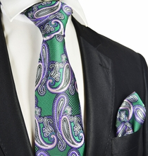 Green and Purple Paisley Tie and Pocket Square