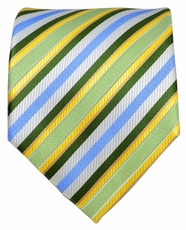 Green, Blue and Yellow Striped Men's Tie