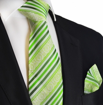Green Glow Striped Silk Tie Set by Paul Malone