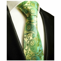 Green Gold Paul Malone Paisley Neck Tie, 100% Silk (817)