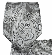 Grey Paisley Necktie and Pocket Square Set