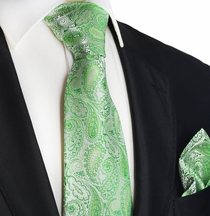 Green Paisley Silk Tie Set by Paul Malone