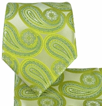 Green Paisley Tie and Pocket Square Set