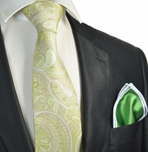 Green Paisley Tie with Contrast Rolled Pocket Square