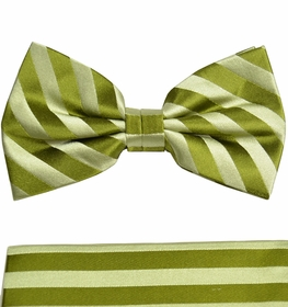 Green Paul Malone Bow Tie and Pocket Square Set . 100% Silk (BT984H)